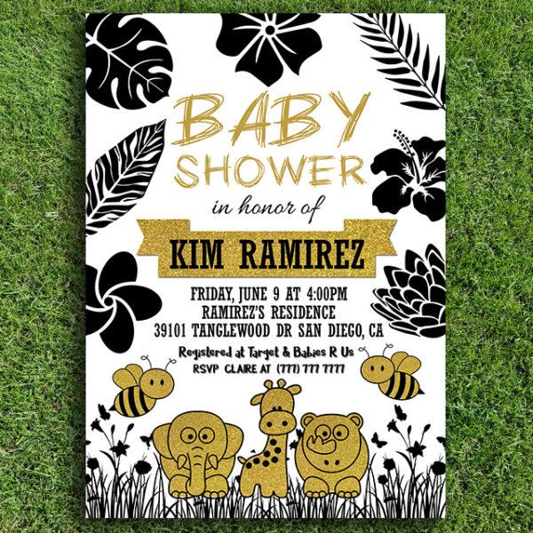 Gold and Black Printable Animal Baby Shower Invitation