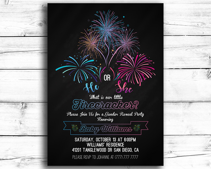 firecracker gender reveal invitation