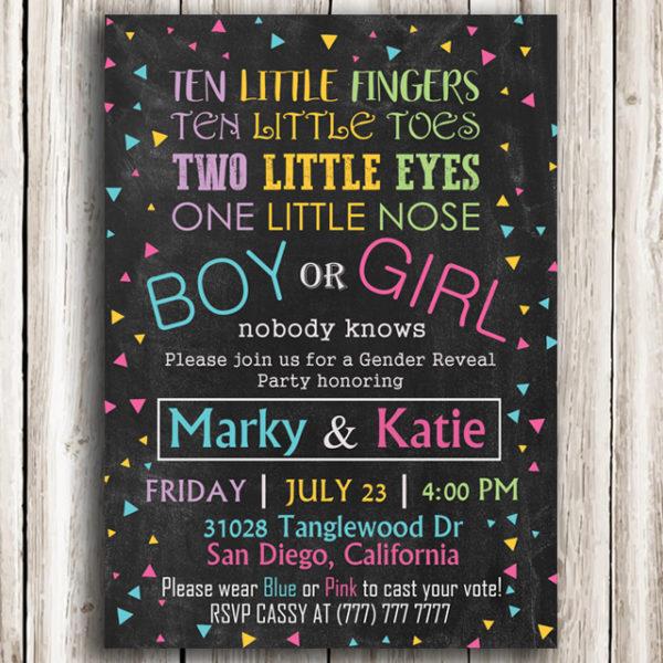 Boy or Girl? Printable Gender Reveal Invitation