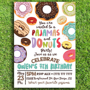 Pajamas and Doughnuts Birthday Party Invitation