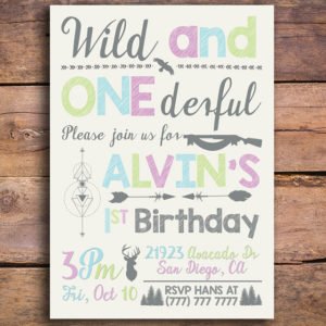 Wild and ONEDerful Birthday Party Invitation
