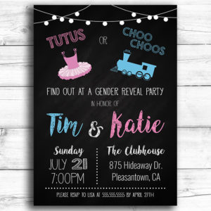 Tutus or Choo Choos Printable Gender Reveal Invitation
