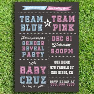 Team Blue vs Team Pink Printable Gender Reveal Invitation