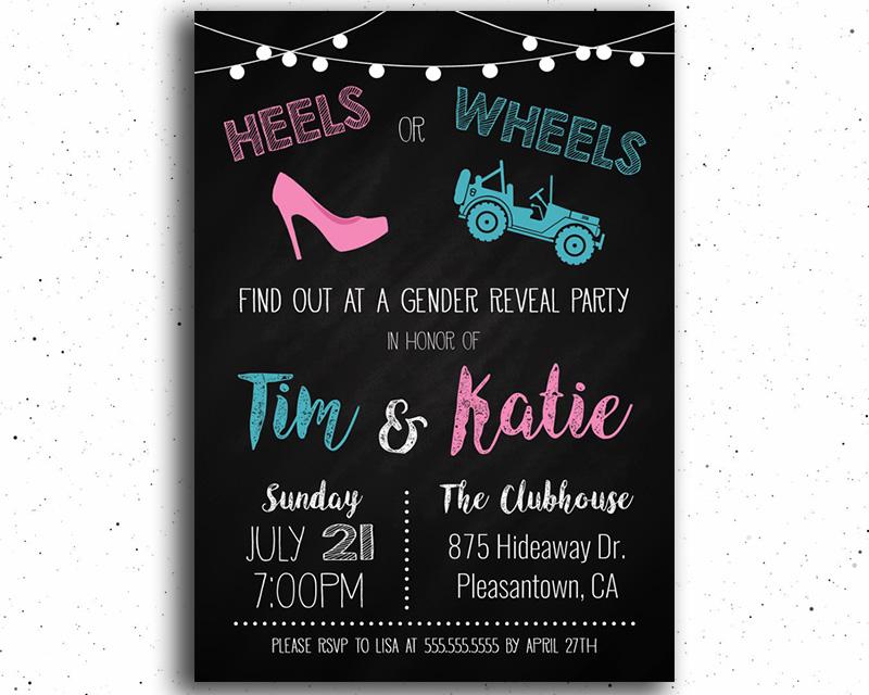 Heels or Wheels (Offroad Truck) Gender Reveal Invitation