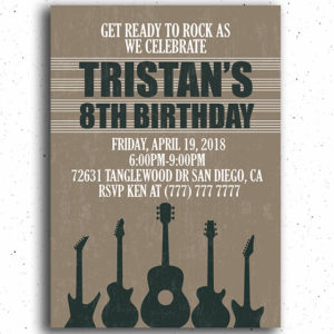 Guitar Birthday Party Invitation