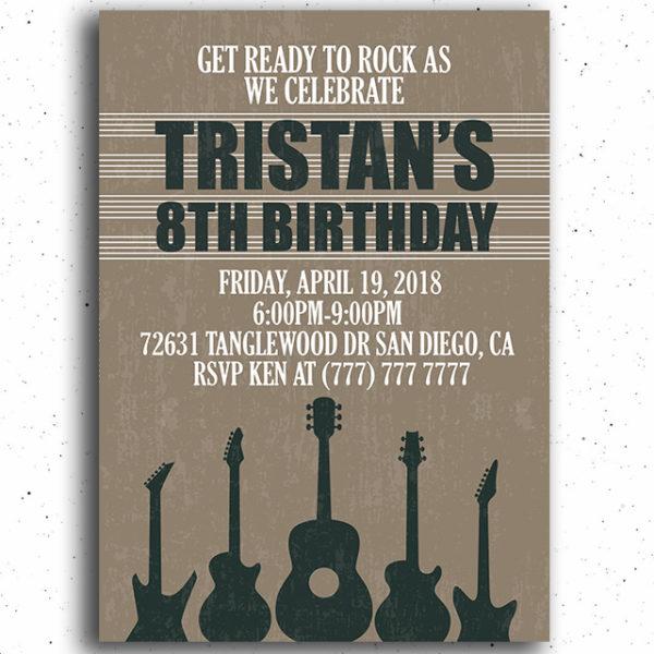 Guitar Birthday Party Invitation