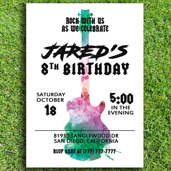 Rock n Roll Guitar Birthday Party Invitation (White Background)