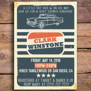 Hot Rod Baby Shower Invitation