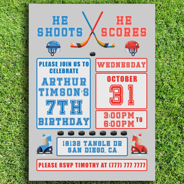 Hockey Themed Birthday Invitation