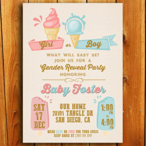 Girl or Boy Ice Cream Gender Reveal Invitation