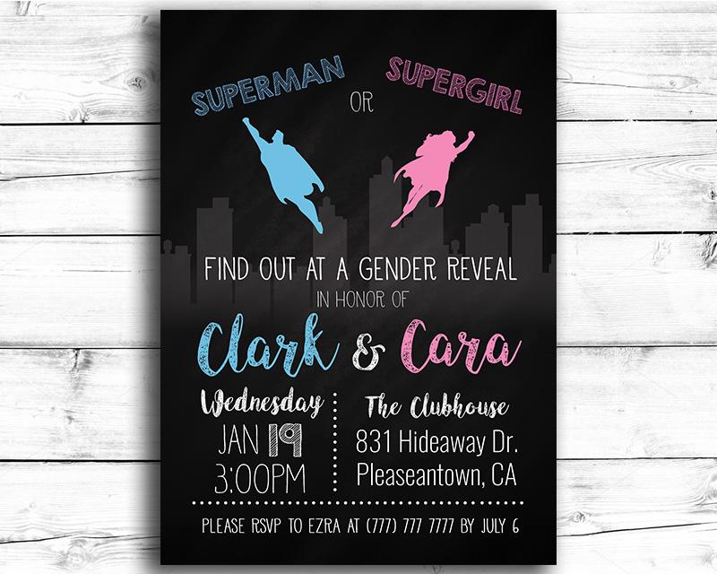 Superhero Gender Reveal Invitation
