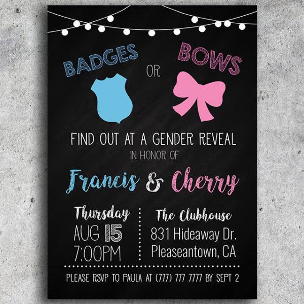 Badges or Bows Gender Reveal Invitation