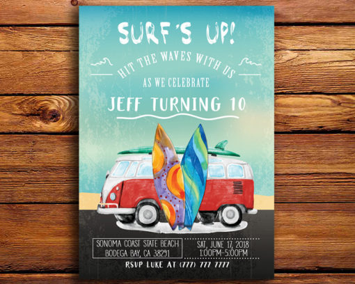 Surf's Up Birthday Party Invitation