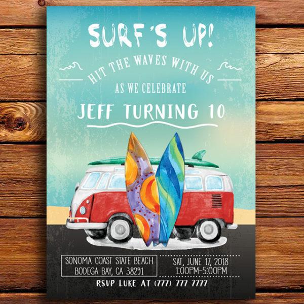 Surf's Up Birthday Party Invitation