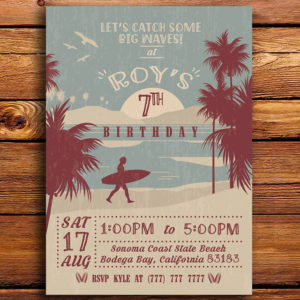 Classic Surfing Birthday Party Invitation