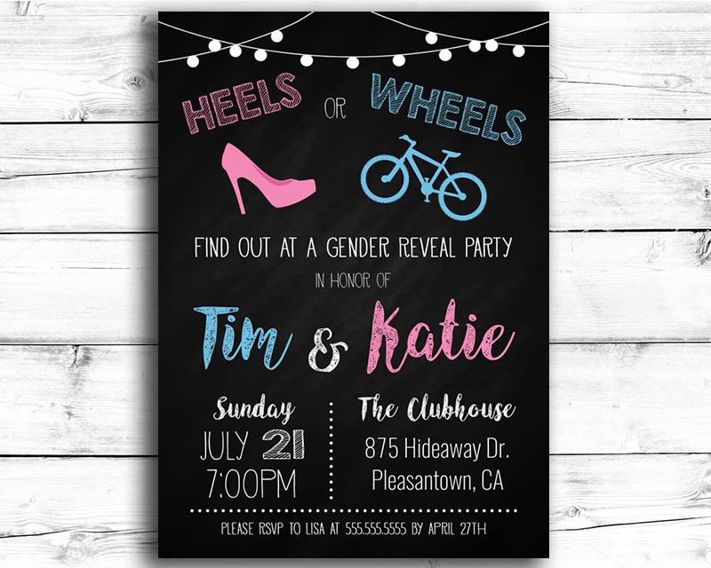 Heels or Wheels (Bicycle) Gender Reveal Invitation