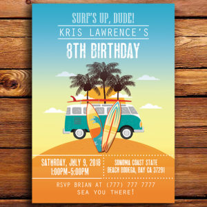 Surf's Up Dude! Birthday Party Invitation