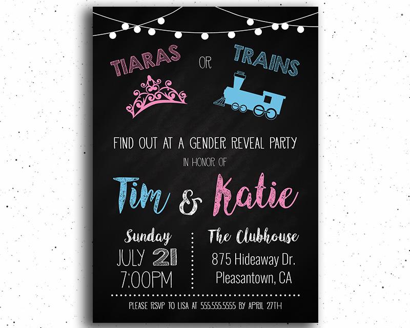 Tiaras or Trains Gender Reveal Invitation