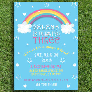 Magical Rainbow Birthday Party Invitation