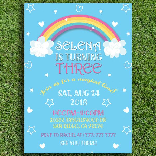 Magical Rainbow Birthday Party Invitation