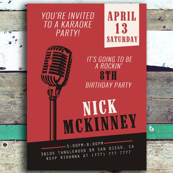 Karaoke Birthday Party Invitation