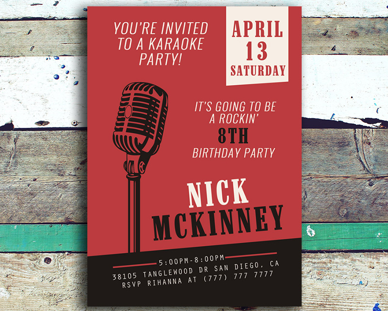 Karaoke Birthday Party Invitation | The Baby Bee