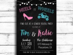 Heels or Wheels (Side by Side ATV) Gender Reveal Invitation