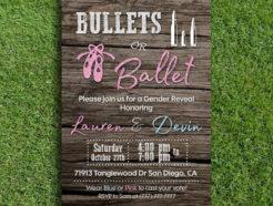 Bullets or Ballet Gender Reveal Invitation