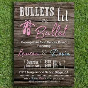 Bullets or Ballet Gender Reveal Invitation