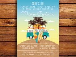 Surfing & Beach Themed Baby Shower Invitation