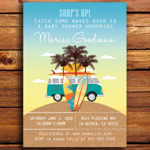 Surfing & Beach Themed Baby Shower Invitation