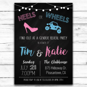 Side by side gender reveal invitation
