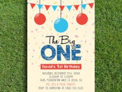 The big one birthday party invitation