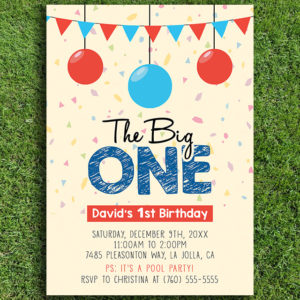 The big one birthday party invitation