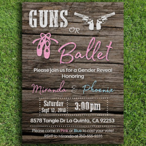 Guns or Ballet Gender Reveal Invitation