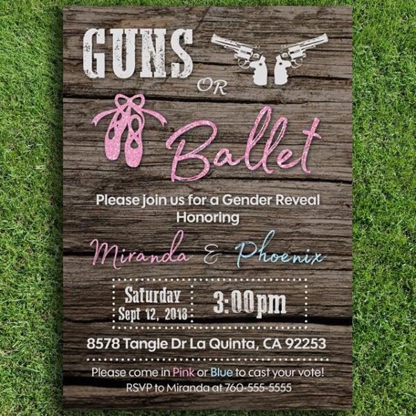 Guns or Ballet Gender Reveal Invitation