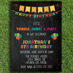 Tumble, Jump & Play Birthday Invitation