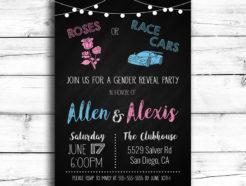 Roses or Race Cars Gender Reveal Invitation