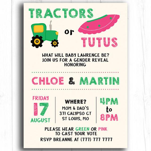 Tractors or Tutus Gender Reveal Invitation