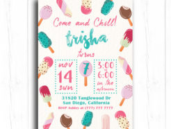 Popsicle and Ice Cream Birthday Invitation