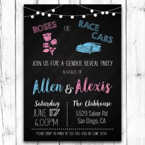 Roses or Race Cars Gender Reveal Invitation