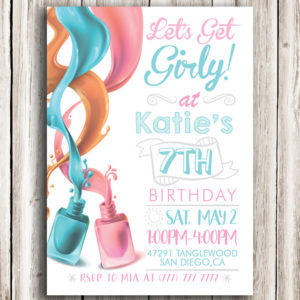 Let's Get Girly Nail Polish Birthday Invitation