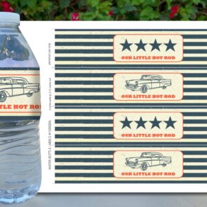 Classic Car Baby Shower Water Bottle Labels