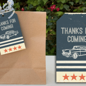 Classic Car Baby Shower Party Favor Tags