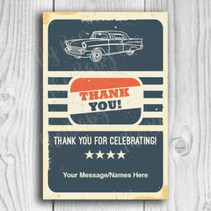 Classic Car Hot Rod Baby Shower Thank You Card