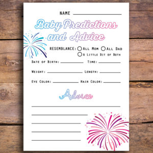 Firecracker Themed Advice Cards for Gender Reveal