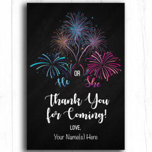 Firecracker Gender Reveal Editable Thank You Cards