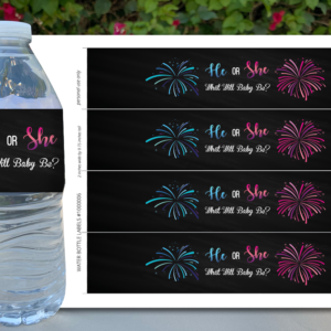 Firecracker Gender Reveal Water Bottle Labels