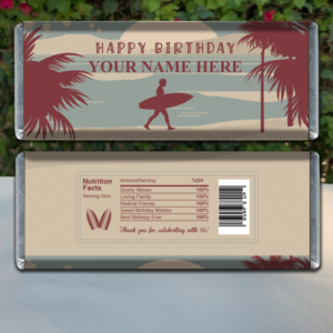 Editable Surfing Themed Candy Bar Wrappers for Birthday Party