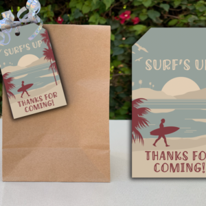 Surfing Themed Party Favor Tags for Birthday PArty